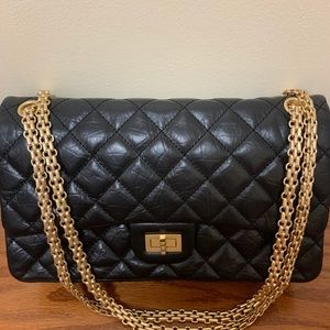 Black Classic Flap Bag Reissue Bag Quilted